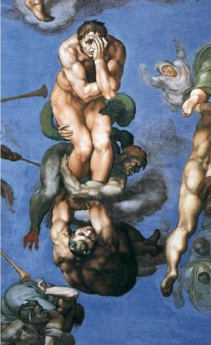 """MICHEL-ANGE, """"Jugement dernier"""", (détail), 1537-41, Chapelle Sixtine, Vatican (source : WGA)."""