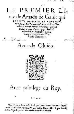 Le premier Livre de Amadis de Gaule, Paris, Janot, 1540 (1544). Page de titre. (source : Gallica).