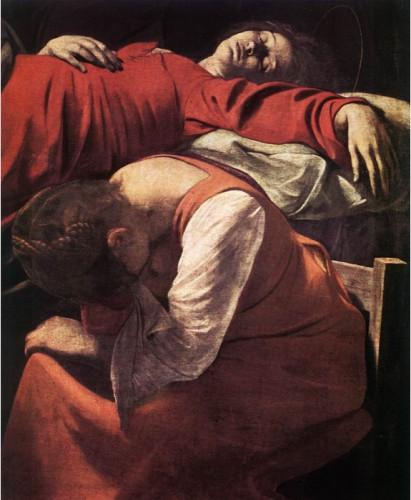 """CARAVAGE, """"La mort de la Vierge"""", 1602-06, Musée du Louvre, Paris (source : WGA)."""