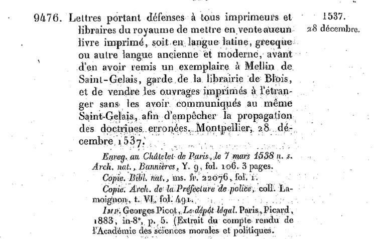 Acte du 28 décembre 1537. Source : Gallica.