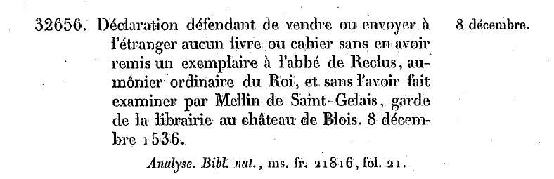 Acte du 8 décembre 1536. Source : Gallica.